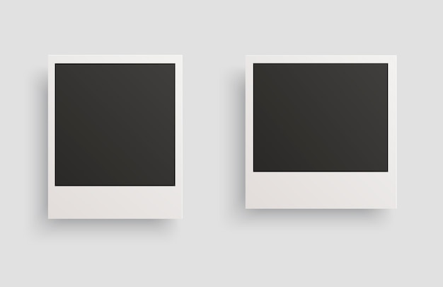 Square photo frames with shadows isolated on a white background