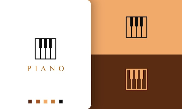 ミュージシャンや音楽スタジオに最適なシンプルでモダンなスタイルのスクエアピアノのロゴ