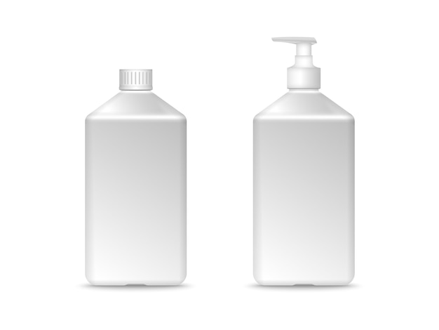 Square plastic bottle mockup vector illustration