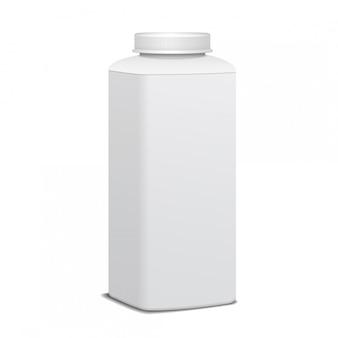 Квадратная пластиковая бутылка с завинчивающейся крышкой для молочных продуктов. для молока пей йогурт, сливки, десерт. реалистичный шаблон пакета