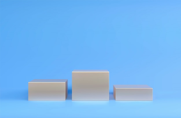 正方形の表彰台、台座またはプラットフォーム、化粧品のプレゼンテーションの背景。 3 dの表彰台。広告の場所。パステルカラーの空白の製品スタンドの背景。
