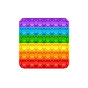 Квадратная pop it модная антистрессовая игра для детей ручная игрушка с пуш-пузырями в цветах радуги