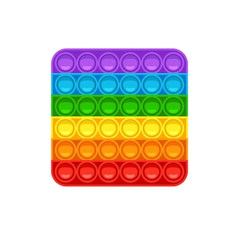Square pop it trendy antistress game for kids hand toy with push bubbles in rainbow colors