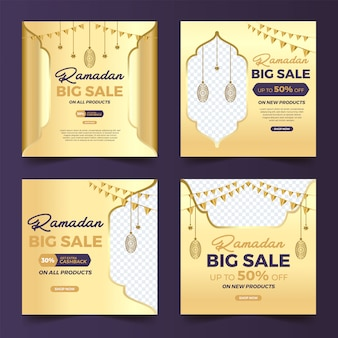 Set di post quadrati social media con design islamico grande vendita ramadan