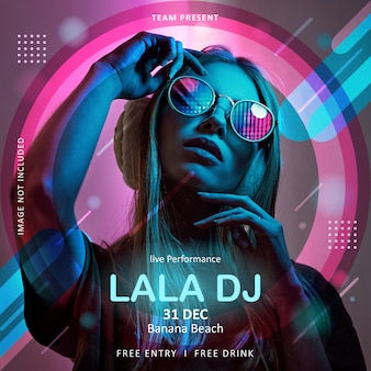Square poster or flyer template for music event dj