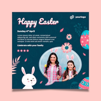 Modello di poster quadrato per pasqua con coniglietto e famiglia