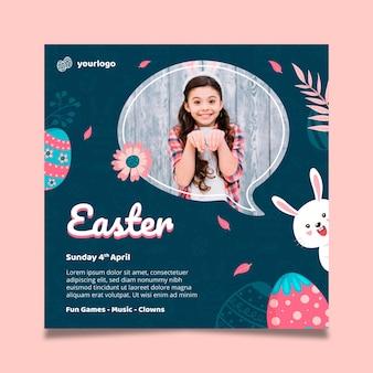 Modello di poster quadrato per pasqua con coniglietto e ragazza