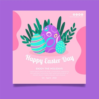 Square poster template for easter with eggs and leaves