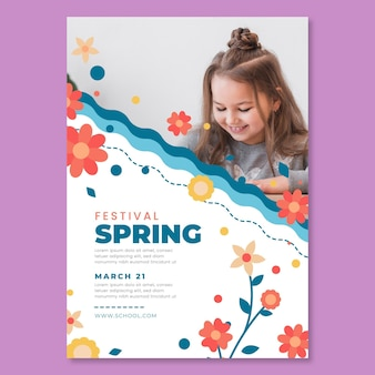 子供と春の正方形のポスターテンプレート