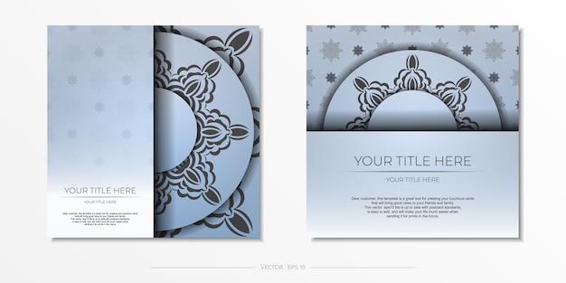 스퀘어 고급스러운 블랙 장식으로 블루 엽서를 준비했습니다. 빈티지 패턴 디자인 인쇄용 초대 카드 템플릿입니다.