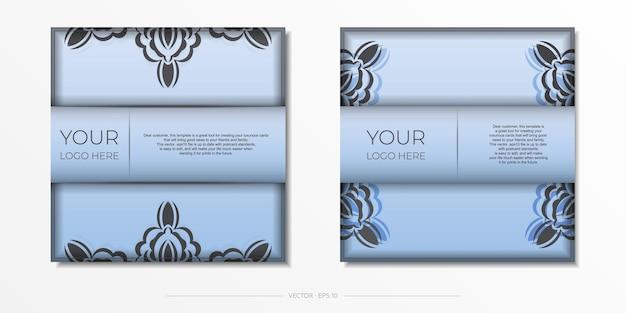 스퀘어 고급스러운 블랙 장식으로 블루 엽서를 준비했습니다. 빈티지 패턴으로 디자인 초대 카드를 인쇄하기 위한 벡터 템플릿입니다.