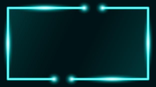 Квадратная прямоугольная рамка для фотографий с голубым неоном