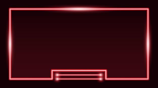 Квадратная прямоугольная рамка для фотографий с красным неоном