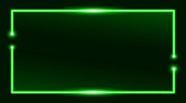 Квадратная прямоугольная рамка для фотографий с двухцветным зеленым неоном