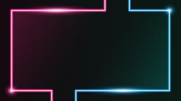 Квадратная прямоугольная рамка для фотографий с двухцветным розовым и синим неоном