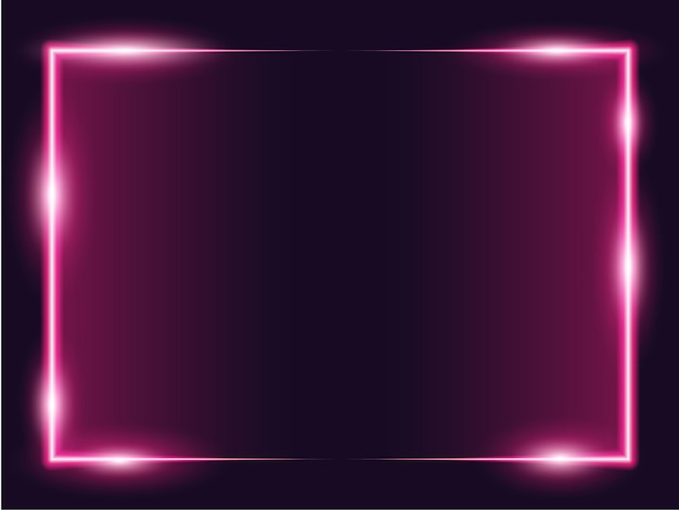 2トーンのピンクのネオンと正方形の長方形の額縁