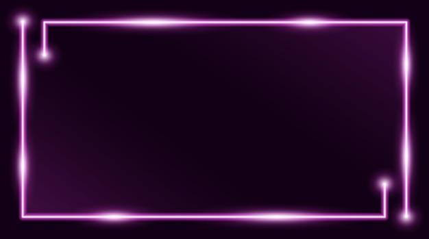 Квадратная прямоугольная рамка для фотографий с двухцветным пурпурным неоном