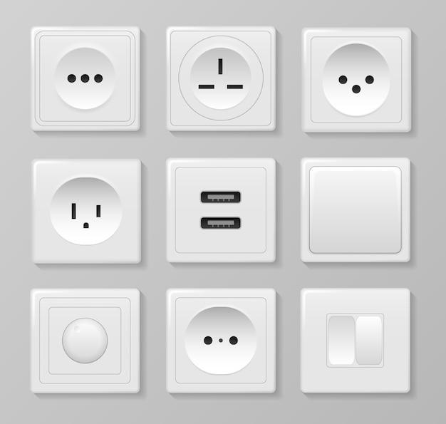 Квадратный прямоугольный и круглый белый настенный выключатель и розетки. силовая розетка, электричество выключите и включите реалистичные картинки. набор различных типов выключателей питания. ,