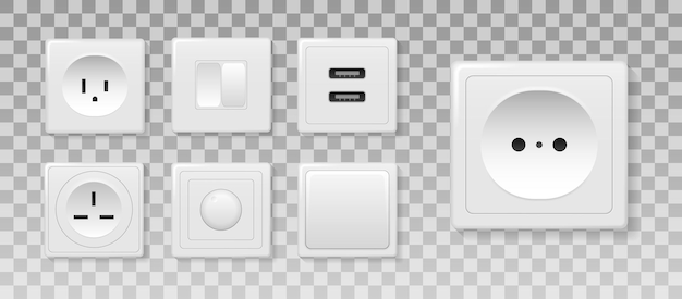 Square rectangular and round white wall switch and sockets