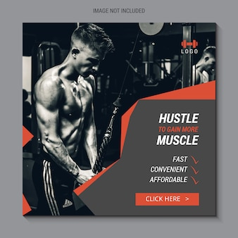 Square sale banner for instagram, fitness and gym