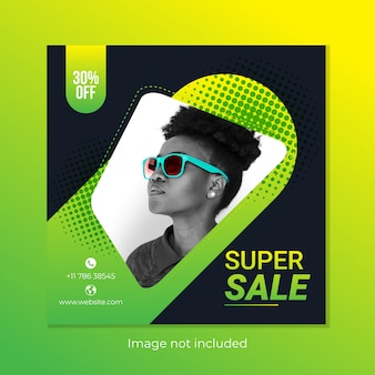 Square sale banner template design for instagram