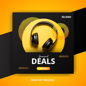 Square sale banner template with earphones