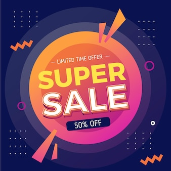 Square sale banner template Free Vector