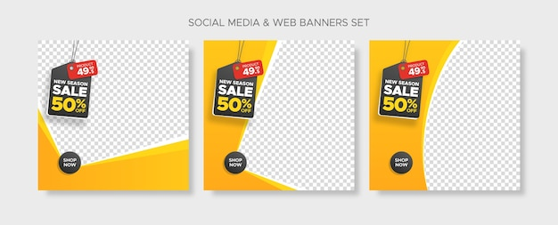 Square sale banner templates set with hanging discount and price tag and empty abstract frame for social media, instagram post and web