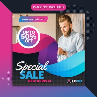 Square sale promotion post template for instagram