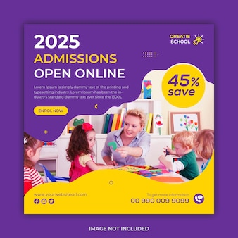 Square school admission instgram social media post and web banner template