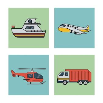 輸送ボート飛行機ヘリコプターとトラックの正方形のセット
