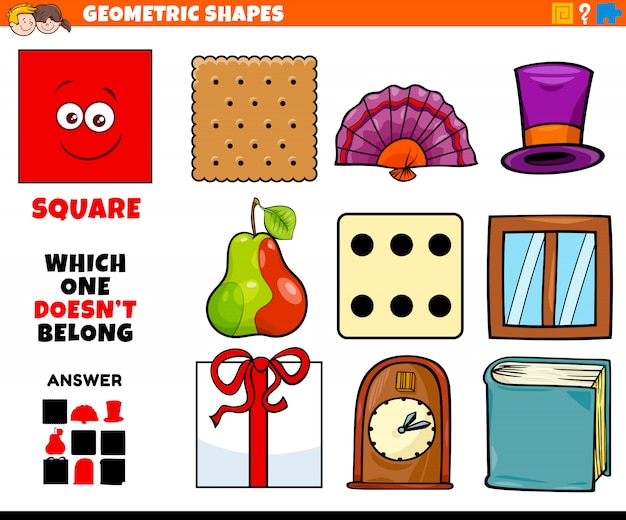 Square shape educational task for kids