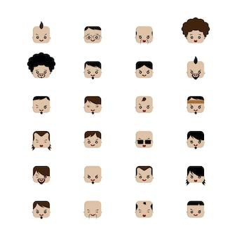 사각형 모양 재미있는 표현 만화 머리 벡터 아트