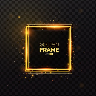 Square shape gold frame with light effect.