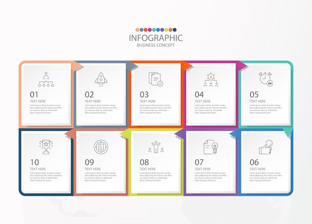 10단계, 프로세스 또는 옵션, 프로세스 차트, 프로세스 다이어그램, 프레젠테이션, 워크플로 레이아웃, 순서도, 인포그래프에 사용되는 정사각형 모양 인포그래픽. 벡터 eps10 일러스트입니다.