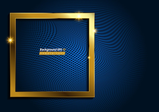 Квадратная форма, современное роскошное золото на синем фоне