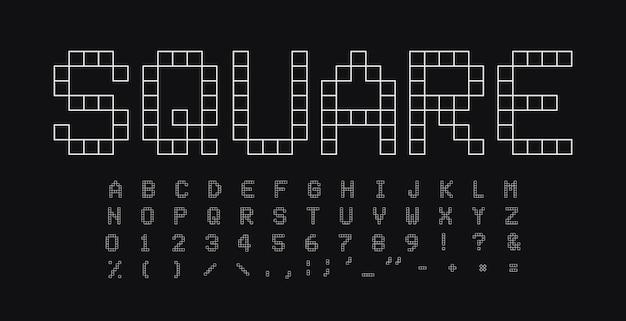 正方形の文字と数字のセット。幾何学的な単純な線形スタイルのベクトルラテンアルファベット。イベント、プロモーション、ロゴ、バナー、モノグラム、ポスターのフォント。タイポグラフィデザイン