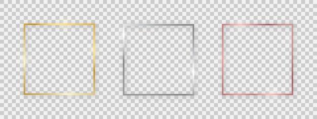 빛나는 효과가 있는 정사각형 반짝이 프레임. 투명한 배경에 그림자가 있는 3개의 금, 은 및 장미 금색 사각형 프레임 세트. 벡터 일러스트 레이 션