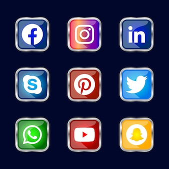 Square shiny silver frame social media icons button with gradient effect set for ux ui online use