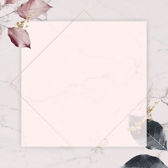 Square silver frame with foliage pattern on marble texture background vector