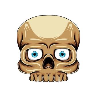 갈색 피부를 가진 파란 렌즈를 가진 사각 두개골 머리