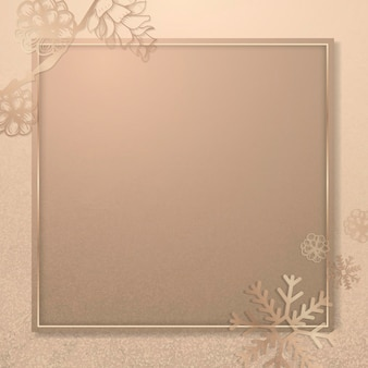 正方形の雪の結晶フレームの背景