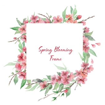 Square spring blooming frame template with watercolor floral brunches