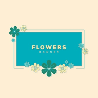 Square spring flower badge vector