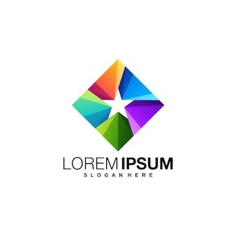 Square star colorful logo design template