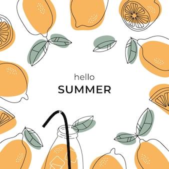 レモンとレモンスライスの正方形の夏のバナー