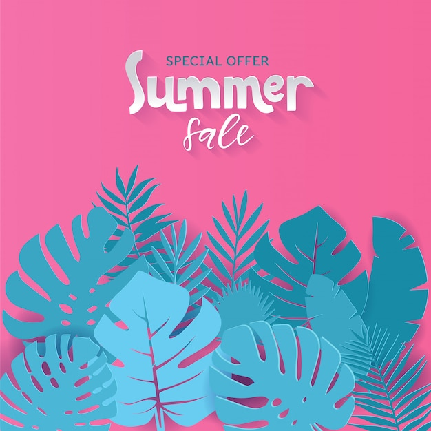 Square summer sale banner  with paper cut tropical palm leaves  with hand drawn lettering qoute.  illustration. exotic hawaiian monstera jungle floral . special offer.