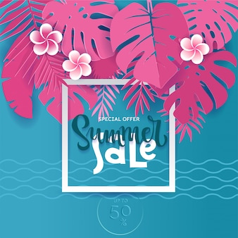 Square summer tropical palm monstera leaves in trandy paper cut style. white frame 3d letters summer sale hiding in exotic blue leaves on pink  for advertising.  card illustration.