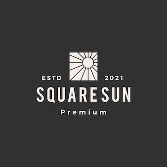 Квадратный солнечный хипстерский винтажный логотип