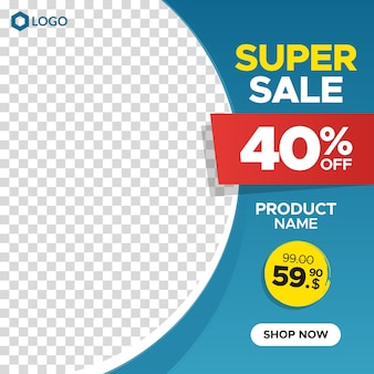 Square super sale banner template with discount and empty abstract frame for social media, instagram post and web Premium Vector